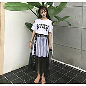 Mujer Simple Noche Casual/Diario Verano T-Shirt Falda Trajes,Escote Redondo Refranes y citas Manga Corta