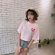Mujer Simple Bonito Casual/Diario Camiseta,Escote Redondo Estampado Letra Manga Corta Algodón