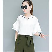 Mujer Simple Casual/Diario Verano Primavera Camisas Pantalón Trajes,Cuello Camisero Un Color Media Manga