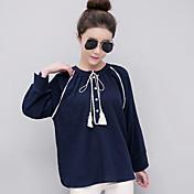 Mujer Bonito Tejido Oriental Casual/Diario Camisa,Escote Redondo Un Color Manga Larga Algodón