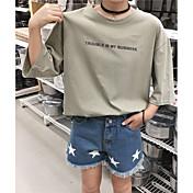 Mujer Simple Casual/Diario Camiseta,Escote Redondo Letra Media Manga Algodón