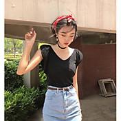 Mujer Simple Casual/Diario Camiseta,Escote en Pico Un Color Sin Mangas Otro