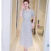 Mujer Vaina Vestido Noche Estampado Escote Redondo Midi Manga Corta Poliéster Verano Tiro Medio Microelástico Fino