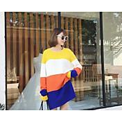 Mujer Largo Pullover Casual/Diario Un Color Bloques Escote Redondo Manga Larga Lana Otoño Invierno Medio Rígido