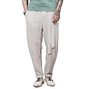 Hombre Sencillo chinoiserie Tiro Medio Microelástico Chinos Pantalones,Corte Recto Un Color