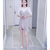 Mujer Simple Casual/Diario Primavera Verano T-Shirt Falda Trajes,Cuello Barco Un Color Manga Tres Cuartos