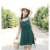 Mujer Vaina Vestido Casual/Diario Simple,Un Color Escote Chino Sobre la rodilla Manga Corta Algodón Verano Tiro Alto Microelástico Fino