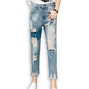 Mujer Sencillo Tiro Medio Microelástico Vaqueros Pantalones,Delgado Un Color