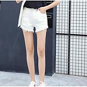 レディース ストリートファッション ミッドライズ スリム マイクロエラスティック ジーンズ ショーツ パンツ ソリッド