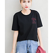 Mujer Simple Noche Camiseta,Escote Redondo Letra Manga Corta Algodón