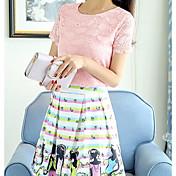 Mujer Sensual Noche Verano Blusa Falda Trajes,Escote Redondo Impresión de encaje Manga Corta