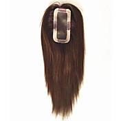 uniwigs remy人間の髪モノヘアピースのクロージャークリップ付き手で結ばれたヘアトッパーストレート16インチの脱毛