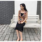 Mujer Simple Casual/Diario Verano Tank Top Falda Trajes,Escote Redondo Un Color Patrón Sin Mangas