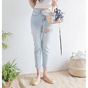 Mujer Sencillo Tiro Alto Microelástico Vaqueros Chinos Pantalones,Delgado Un Color