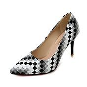 Ženske Cipele na petu Udobne cipele PU Proljeće Kauzalni Hodanje Karirani uzorak Stiletto potpetica Crn Crvena Plava 7 cm - 9.5 cm