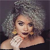 Mujer Pelucas sintéticas Sin Tapa Medio Rizado Gris oscuro Pelo Ombre Peluca natural Las pelucas del traje