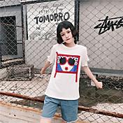 Mujer Sexy Deportes Camiseta,Escote Redondo Un Color Manga Corta Algodón