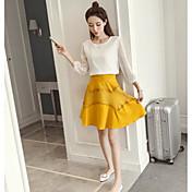 Mujer Simple Casual/Diario Verano T-Shirt Falda Trajes,Escote Redondo Un Color Manga Larga
