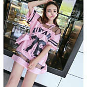 Mujer Chic de Calle Casual/Diario Camiseta,Escote Redondo Un Color Estampado Letra Media Manga Algodón