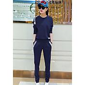 Mujer Simple Deportes Primavera Otoño T-Shirt Pantalón Trajes,Escote Redondo Un Color Manga Larga