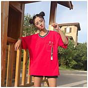 Mujer Bonito Casual/Diario Camiseta,Escote en Pico Un Color Media Manga Algodón