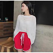 Mujer Regular Pullover Casual/Diario Un Color A Rayas Escote Redondo Manga Larga Otro Otoño Medio Microelástico