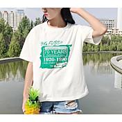 Mujer Simple Casual/Diario Camiseta,Escote Redondo Un Color Estampado Media Manga Algodón Poliéster Licra