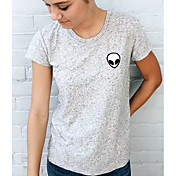 レディース カジュアル/普段着 Tシャツ,シンプル ラウンドネック プリント コットン その他 半袖