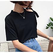Mujer Simple Casual/Diario Verano Camiseta,Escote Redondo Un Color Manga Corta Algodón Medio