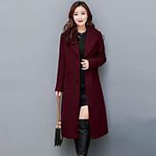 Dámské Jednobarevné Jdeme ven Velké velikosti Šik ven Sofistikované Kabát-Podzim Zima Kašmír Polyester Košilový límec Dlouhý rukáv Dlouhé