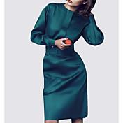 Mujer Vaina Vestido Noche Un Color Escote Redondo Hasta la Rodilla Manga Larga Poliéster Verano Tiro Medio Microelástico Medio