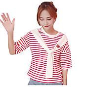 Mujer Chic de Calle Noche Camiseta,Escote Redondo A Rayas Bloques Manga Corta Otro