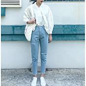 Mujer Sencillo Tiro Medio Microelástico Vaqueros Pantalones,Corte Ancho Un Color