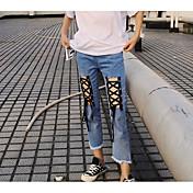 Mujer Sencillo Tiro Medio Microelástico Vaqueros Pantalones,Delgado Bloques