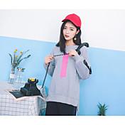 Mujer Sudadera Deportes Un Color Escote Redondo Microelástico Algodón Manga Larga Otoño
