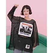 Mujer Simple Casual/Diario Camiseta,Escote Redondo Estampado Manga Larga Poliéster