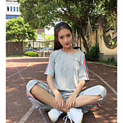 Mujer Simple Noche Verano T-Shirt Pantalón Trajes,Escote Redondo Un Color Manga Corta
