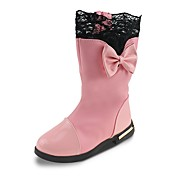 Para Meninas sapatos Courino Outono Inverno Botas de Neve Botas da Moda Botas Laço Corrente Para Social Festas & Noite Preto Vermelho