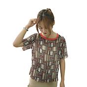 Mujer Simple Casual/Diario Blusa,Escote Redondo Geométrico Manga Corta Poliéster