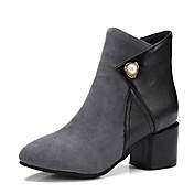 Mujer Zapatos Cuero Nobuck PU Otoño Invierno Confort Botas Tacón Robusto Dedo Puntiagudo Perla Cremallera Para Negro Gris Verde Ejército