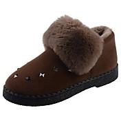 Mujer Zapatos Terciopelo Invierno Confort Mocasín Pompón Forro de piel Forro de pelusa Botas Tacón Bajo Dedo redondo Botines/Hasta el