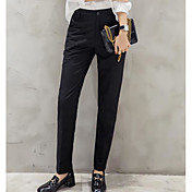 Mujer Chic de Calle Tiro Medio Microelástico Chinos Pantalones,Delgado Un Color