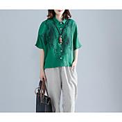 Mujer Simple Noche Camisa,Cuello Camisero Un Color Estampado Media Manga Algodón