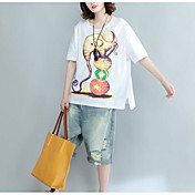 Mujer Simple Casual/Diario Camiseta,Escote Redondo Estampado Animal Media Manga Algodón