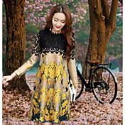 Mujer Encaje Vestido Noche Un Color Floral Estampado Escote Redondo Sobre la rodilla Manga Larga Algodón Poliéster Verano Tiro Medio