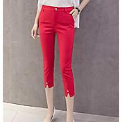 Mujer Sencillo Tiro Alto Microelástico Ajustado Chinos Pantalones,Delgado Un Color
