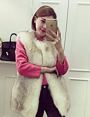 Men's Going out / Casual/Daily Cute Jackets,Solid Round Neck Sleeveless Fall Pink / White / Black / Green Faux Fur Medium