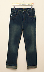 Chunyazi Mode lange Gerade Hose aus Baumwolle (Marine-Blau)