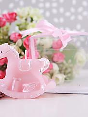 ピンクの揺り木馬キャンドル