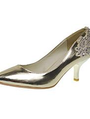 Elegantní koženková horní nízká pata uzavřená prst s drahokamu obruby svatební / strana obuvi